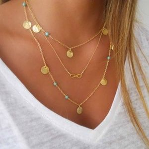 Jewelry - Infinity Triple Chain Golden Coin Choker